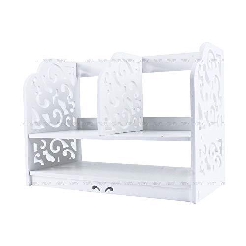 Yosoo Bücherregal Wandregal Holzregal Aufbewahrung Barock Weiß für Büros oder Zuhause (30 x 21 x...