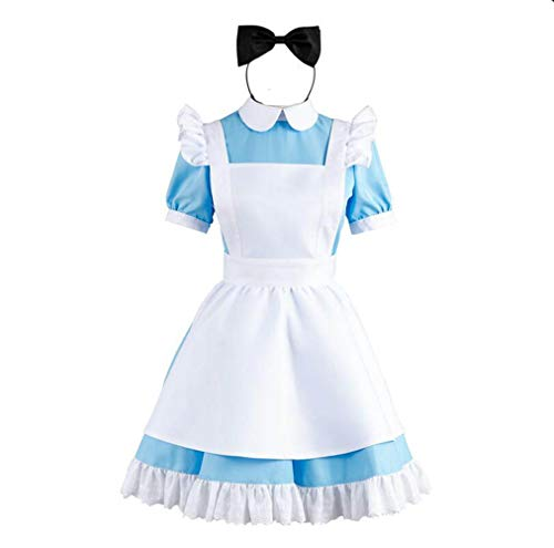 Unicon Bab Blue Alice's Wonderland Lolita Maid Cosplay Disfraces de disfraces Kits de Delantal Talla M