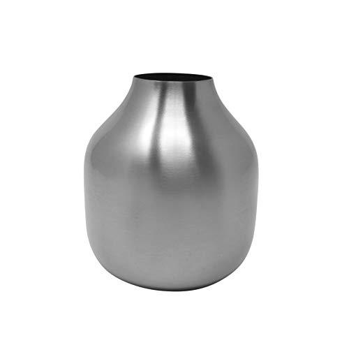 LaLe Living kleine Vase - Basit - aus Eisen in Silber, Maße Blumenvase Ø8x10cm als Mini Deko auf dem Schrank, Regal oder als Tischdeko auf deinem Esstisch