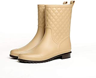 Women's Rain Boots, Fashion Martin Rain Boots Plaid Casual Rubber Shoes Ladies Tube Female Adult,Beige,36
