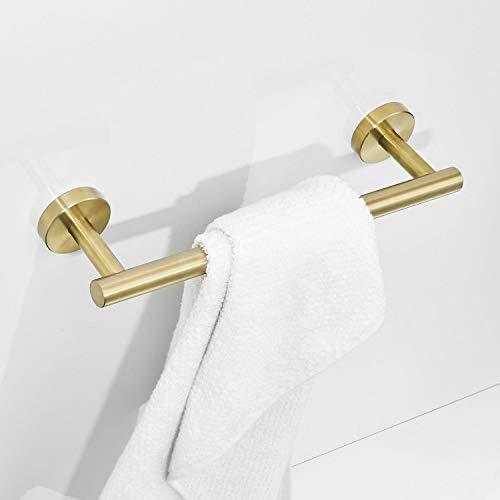 Barra de toalla de acabado dorado cepillado Acero inoxidable 30 cm Toalleros de baño Montaje en pared Leekayer