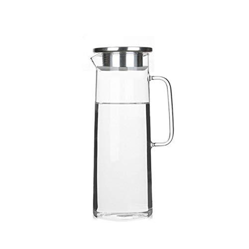 Jarra Agua 1L /1.2L Botella de agua fría de vidrio Tarro Tetera Transparente APacidad Grande Resistente al calor Pote de agua con mango Tetera Jarras Jarra (Capacity : 1.0L, Color : A)