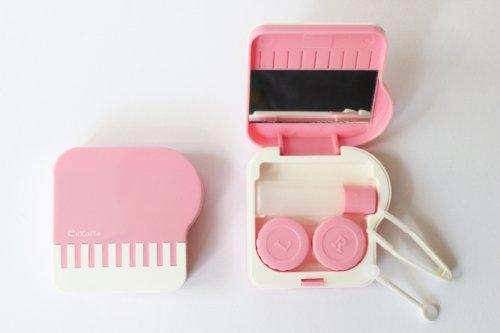 Kontaktlinsenbehälter Aufbewahrungsbehälter Etui Set Spiegel süßes Klavier Pink