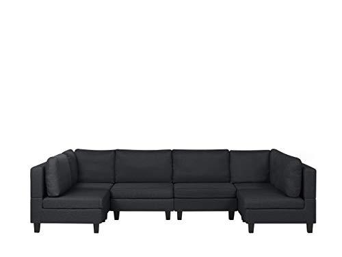 Beliani Fevik - Sofá modular panorámico de 6 plazas, de tela, gris oscuro