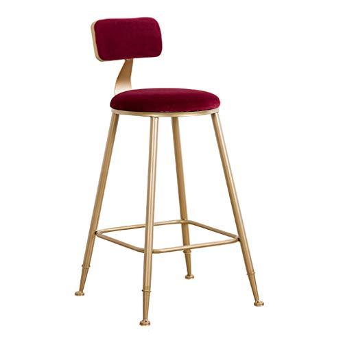 LAXF- Sedie sgabelli da Bar Set di 1, Cuscino in Velluto e Gambe Dorate, Sgabello Alto per Superfici Contro Altezza Come Isole Cucina, Tavoli da Lavoro, Bar per la casa, Altezza Seduta 75 cm