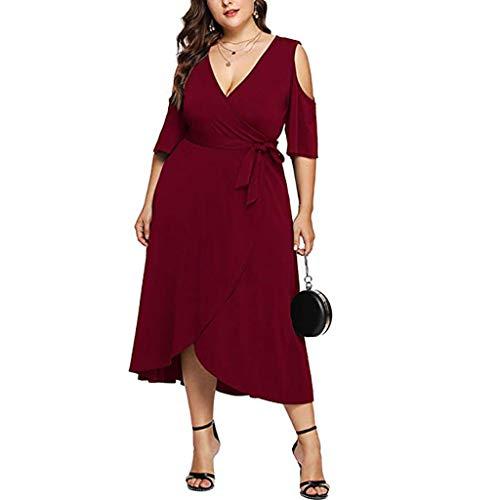 HROIJSL Women Womens Boho Dresses Beach Casual Dress Sleeveless Halter Neck Skirt Bohemian Print Keyhole Front Sundress Size 8-28 Red