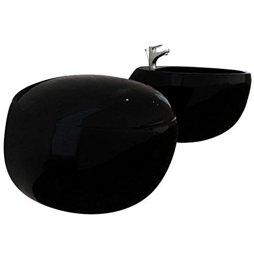 vidaXL Set WC e Bidet da Parete in Ceramica Nera Sanitari Bagno Water e Bidè