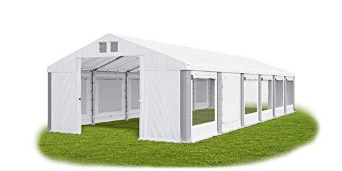 Das Company Party Tent 6 x 12 m Storage Tent Universal Tent Mosquito Net Tent White Grey Tent 560 g/m² PVC Tarpaulin Waterproof High Quality Tent Garden Tent Gazebo Summer ISDM
