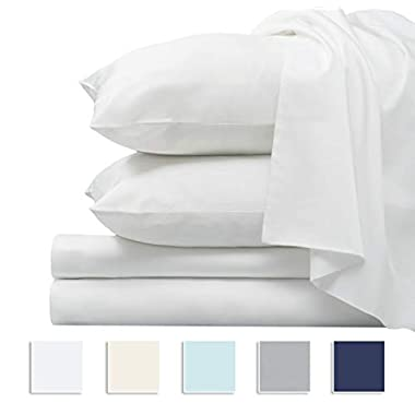 Pizuna 1000 Thread Count 4pc Sheet Set, 100% Long Staple Cotton White King Sheets, Luxurious Soft Sateen Weave Breathable Sheets fits Upto 16  Deep Pockets (White King 100% Cotton Sheet Set)