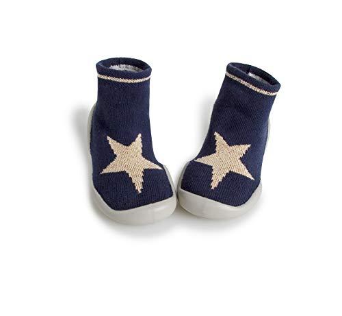 Collegien 511D Bonne Glisse Hausschuhe Socken schwarz mit Gold Glitzer Stern Gr. 26/27