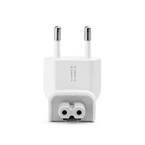 aiino - EU Stecker für Apple MacBook und iPad Netzteil, Apple Stecker für die Steckdose, Ersatzstecker, Apple Stromkabel, MacBook Ladegerät, Wandstecker und Netzteil für MacBooks, EU-Stecker - Weiss