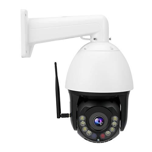 Mxzzand 1080P PTZ WiFi Cámara AI Seguimiento automático Zoom 30X con Soporte Antena Visión Nocturna a Todo Color IP66 Impermeable(Enchufe de la UE)