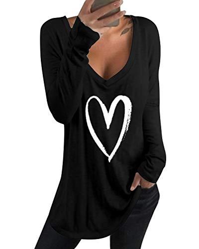 kenoce Tshirt Damen Casual Tunika Tops V-Ausschnitt Solides T-Shirt H-Schwarz M