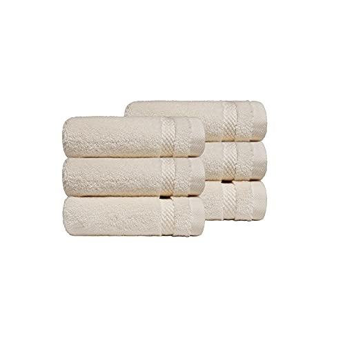 TRIDENT Juego paño de Lavado - Luxury Hotel Collection - Toallas Grandes, 100% algodón, 625 gsm, 6 Piezas paño de Lavado, Ultra Suave, Lujoso, Extra Absorbente (Lino)