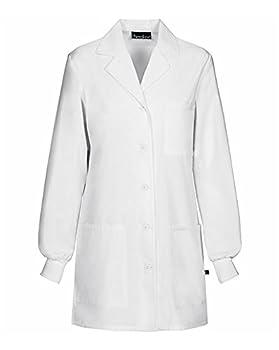 Cherokee Women s Scrubs 32  Cuffed Sleeve Lab Coat White Large