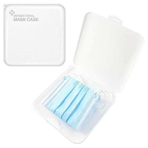 TBOC Caja para Guardar Mascarillas -  Estuche Fino Cuadrado Antibacteriano Portátil de Plástico [Blanco] Organizador para Guardar Máscaras Desechables Ligero Reutilizable Protege Humedad Suciedad Polvo