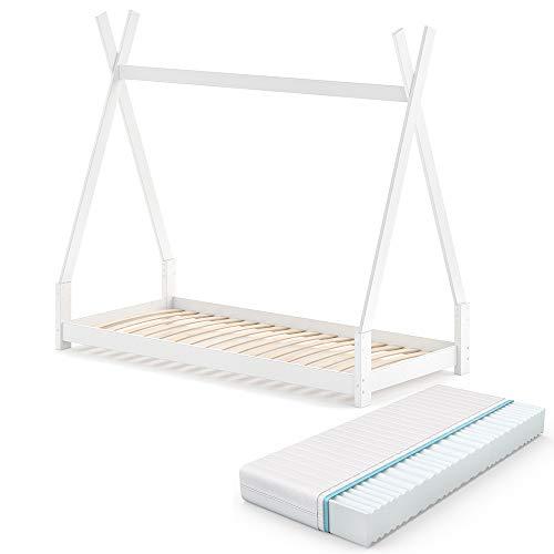 VitaliSpa Kinderbett Tipi Hausbett weiß Natur Bett Kinderhaus Zelt Bett Schublade 90x200cm inklusive Matratze 90x200 cm