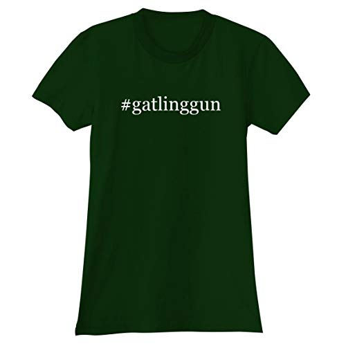 The Town Butler #gatlinggun - A Soft & Comfortable Hashtag Women's Junior Cut T-Shirt, Forest, XX-Large