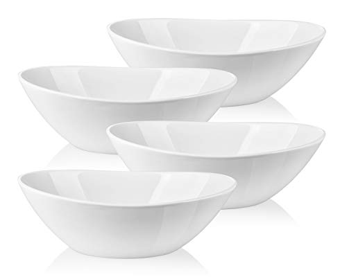 LIFVER Serving Bowls, 36 Ounces Porcelain Large Bowls Set, White Bowl Set for Salad, Soup, Dessert, Set of 4