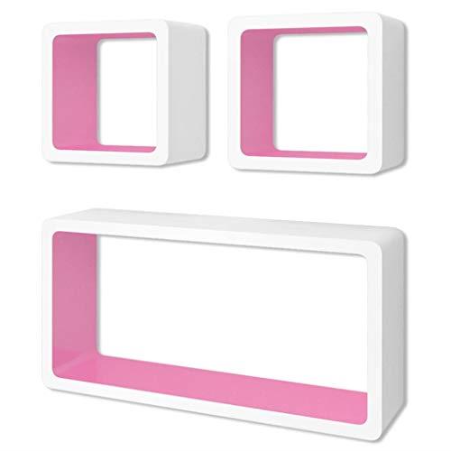Festnight 6 pz Mensole a Cubo da Parete Design Bianco e Rosa,Mesole da Muro Design Moderne,Mensole da Muro Design Soggiorno,Mensole da Muro Design Cucina e Camerette