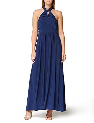 Marchio Amazon - TRUTH & FABLE Maxi Dress Halter Donna, Blu (Medival Blue), 44, Label: M