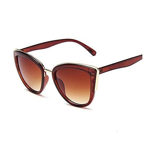 Gafas de sol de ojo de gato vintage para mujer, gafas de sol de moda, sexy, leopardo, Cateyes, negro, degradado, Oculos de Sol (color: marrón)