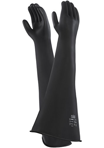 Ansell Emperor ME107 Beschermende handschoen tegen chemicaliën van latex, natuurlijk rubber, bescherming bij mechaniek, 9.5, zwart, 1
