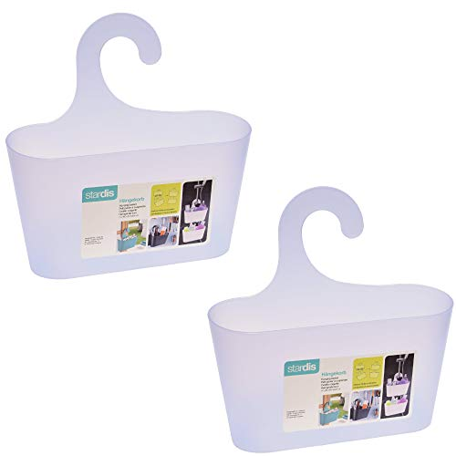 stardis 2er-Set Duschkorb zum Hängen - ohne Bohren - Duschablage aus Kunststoff Bad-Regal Duschregal Utensilo Aufbewahrungskorb, Farbe:Transparent