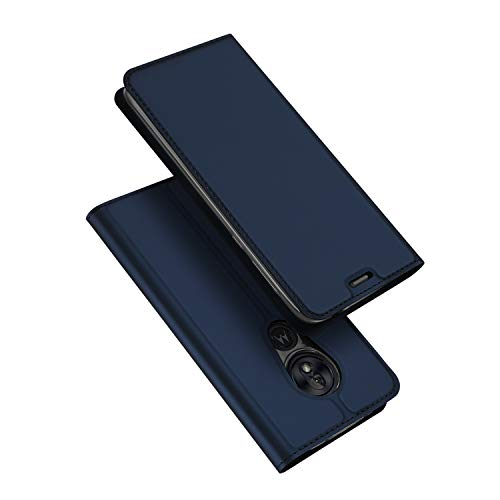 DUX DUCIS Hülle für Moto G7 Power, Leder Flip Handyhülle Schutzhülle Tasche Hülle mit [Kartenfach] [Standfunktion] [Magnetverschluss] für Motorola Moto G7 Power (Blau)