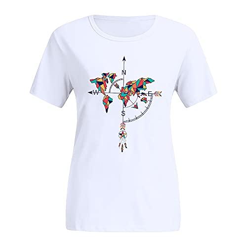 Qigxihkh Mädchen Damen Sommer bequem lässig süß vielseitig mehrfarbigDamen Tie-Dye Casual Tops Catcher Bedruckte Bunte Kurzarm O-Ausschnitt Bluse(2-Rot, XL)