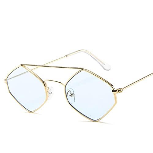 UKKD Gafas De Sol Mujeres Moda Diamante Gafas De Sol Mujeres Retro Metal Viga Doble Lentes Salvajes Polygonal Ocean Glasses-Gold-Blue