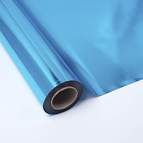 PAKOT Bobina Polipropileno Metalizado Azul - Rollo Grande 70CM x 50M - Para Regalos y Comercios