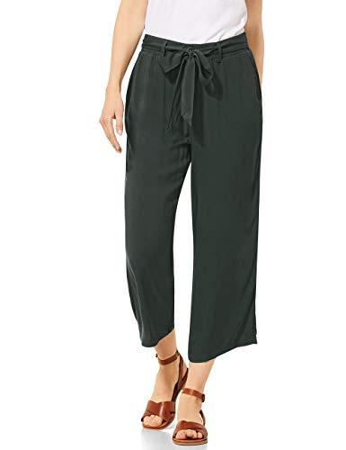 Cecil Damen 373203 Wide Leg Solid Hose, Slate Green, M