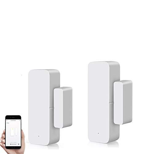 Tuya Smart Door Sensor Alarma WiFi Sensor de Ventana Imanes Sensor Alarma en tiempo real Compatible con Alexa Google Assistant, Sensor de contacto abierto para puerta