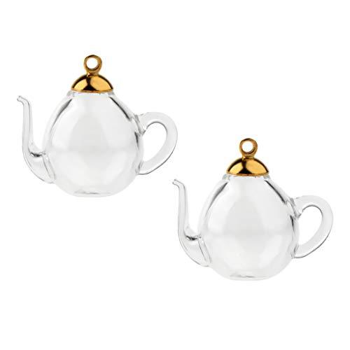 P Prettyia 2 Stücke Mini Teekanne Leere Glas Anhänger Röhrchen Fläschchen Charms Wünschen Flaschen - Silber