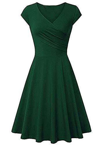 OMZIN - Vestido de mujer con escote en V, elegante, con mangas de alas, sexy, para cóctel, hasta la rodilla, informal, para fiestas