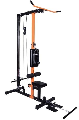 SportPlus Version 2021 Latzugturm, Robustes Seilzugsystem mit leisen Umlenkrollen, Latzugstation für zu Hause, inkl. Latzugstange, Trizepsseil & Bizepsstange, Nutzergewicht bis 100kg