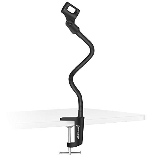 ZealSound Microphone Stand,Flexible Gooseneck Desktop Mic Stands Holder with Heavy Duty Desk Clamp, 3/8' to 5/8' Screw Adapter 360 Adjustable Compact for Blue Yeti Snowball Ice Spark & Other Mics
