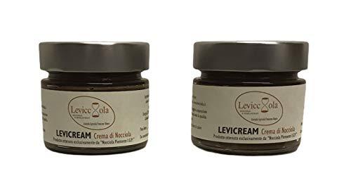 """Levicream 2x200gr., crema da spalmare alle """"nocciole del Piemonte i.g.p.""""52% delle langhe, artigianale prodotta da azienda agricola italiana"""