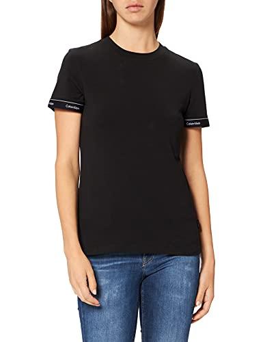 Calvin Klein Damen Logo Tape Cuff Slim FIT TOP T-Shirt, Ck Schwarz, Large