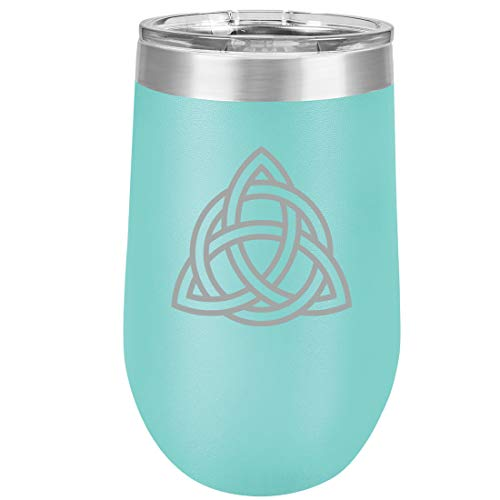 16 oz Double Wall Vacuum Insulated Stainless Steel Stemless Wine Tumbler Glass Coffee Travel Mug With Lid Triquetra Symbol Celtic Knot (Teal)