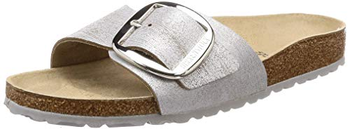BIRKENSTOCK Madrid Big Buckle Damen Sandalen Gold, Washed Metallic Blue Silver, 38 EU