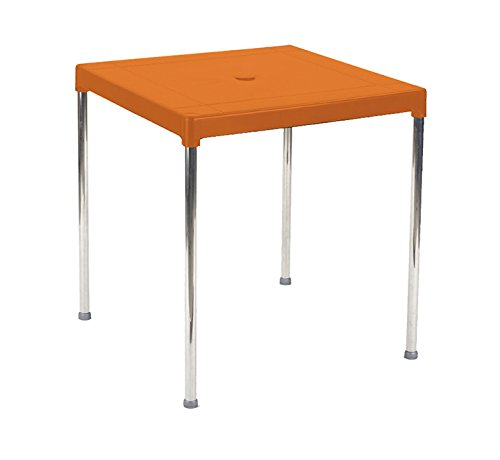 Garden Life 4026-07 Tablero de Resina y Patas Aluminio, Naranja, 70x70x13 cm