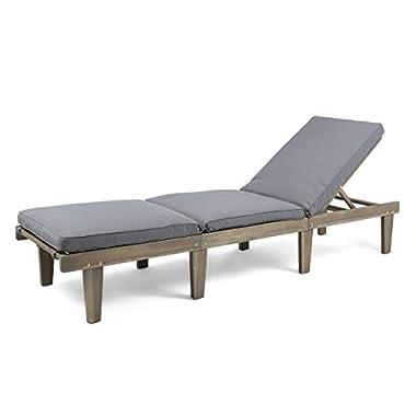 Christopher Knight Home 304376 Alisa Outdoor Acacia Wood Chaise Lounge, Grey Finish/Dark Grey Cushion
