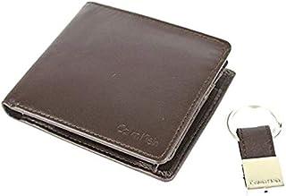 محفظة 79349 من كالفن كلاين ثنائية الطي، بجيب للعملات المعدنية وميدالية مفاتيح، للرجال - من الجلد، لون بني