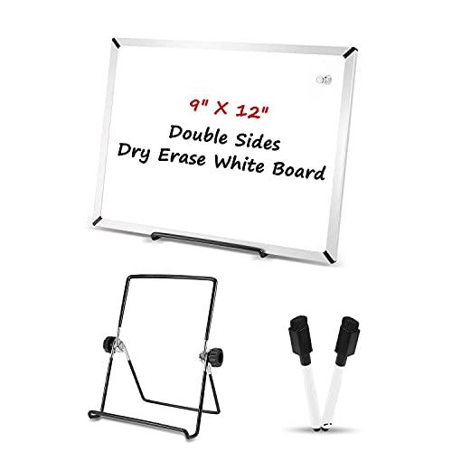 Pizarra blanca magnética, 23 x 30 cm, doble cara, pequeña pizarra blanca con 2 marcadores, 1 pin imán, 2 cintas...