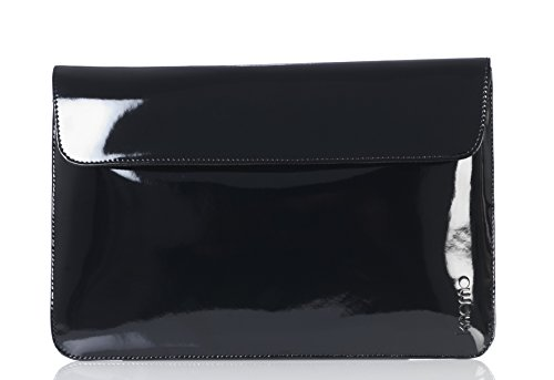 knomo Leather Envelope Sleeve for 11 inch MacBook Air - Black Patent