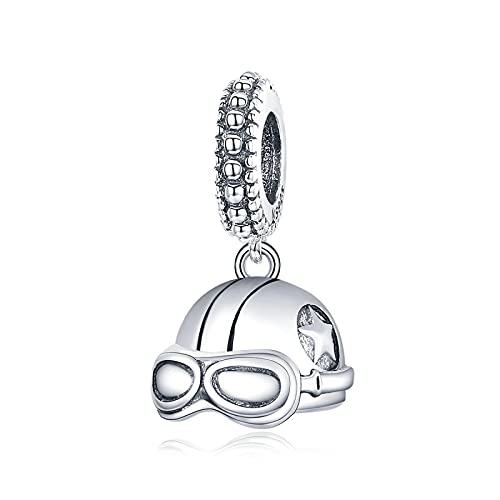 DIY S925 Casco Retro De Plata Esterlina Gafas Geniales Encantos Colgantes Lindos con Cuentas Pulseras Pandora Collares Perlas Sueltas para Mujeres Regalo De Fabricación De Joyas