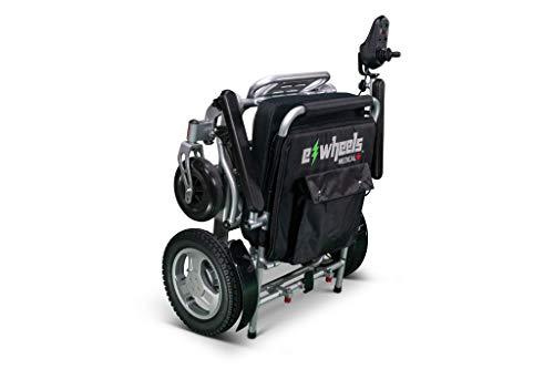 EWheels Folding Power Electric Wheelchair with Storage Bag EW-M45 Lightweight Long Range Up to 15.5 Mile Range Black