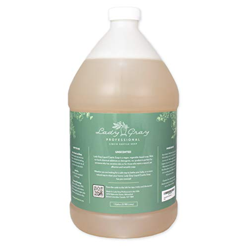 Pure Castile Soap - Unscented - 1 Liquid Gallon - An All Natural, Fragrance Free Soap Base. Ideal for Sensitive Skin. Body, Hands, Hair, Baby Wash - DIY Your Own 100% Natural Cleaning Products.